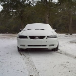 2003 V6 Mustang in the snow