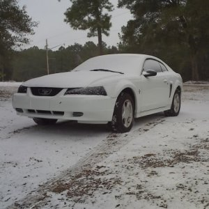 2003 V6 Mustang in the snow 3